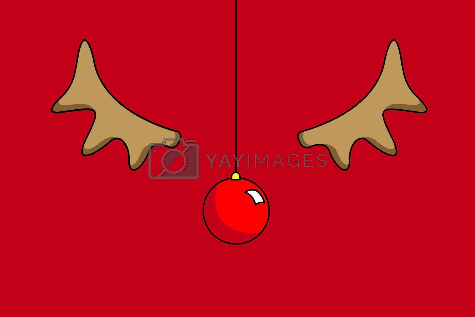 illustration of christmas cards with Rudolph with copy space