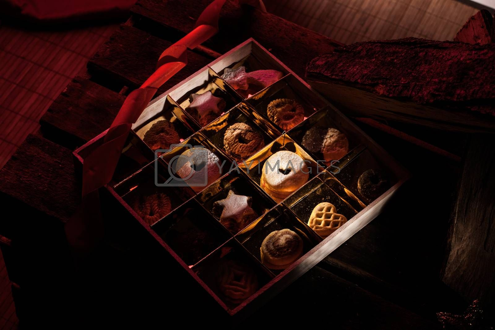 Christmas Background Concepts with Lantern, candles and cookies with copy space