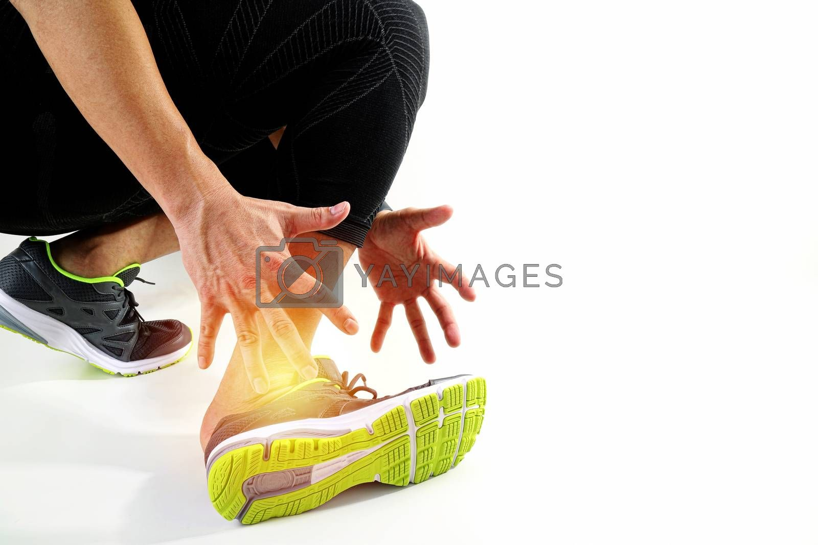 Runner sportsman holding ankle in pain with Broken twisted joint running sport injury and Athletic man touching foot due to sprain on white background