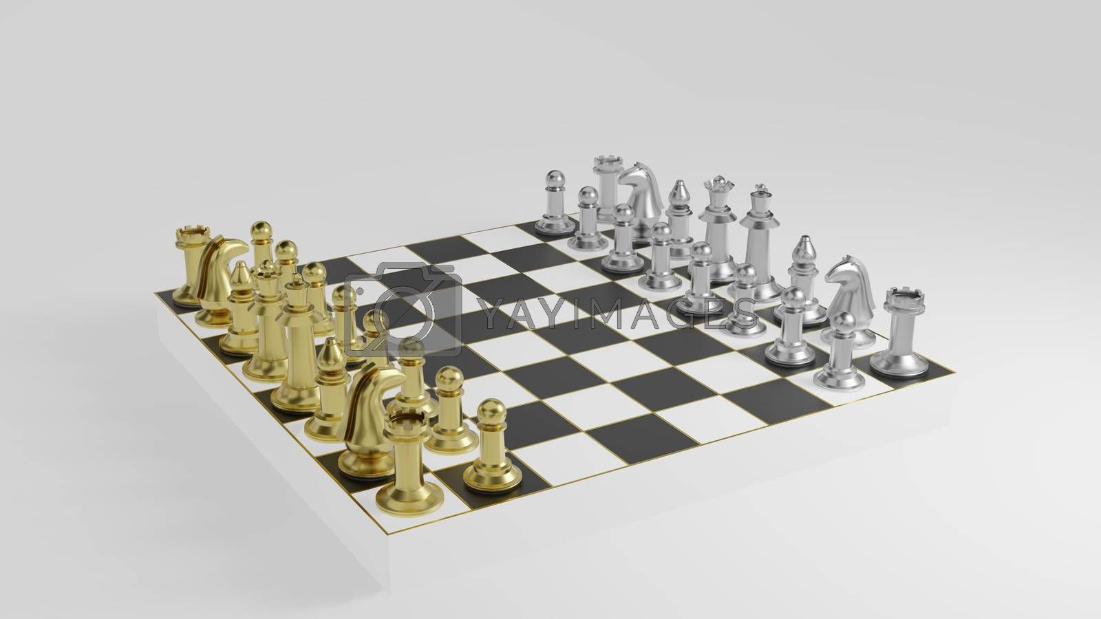 Royalty free image of Golden and silver chess pieces on black and white board by eaglesky
