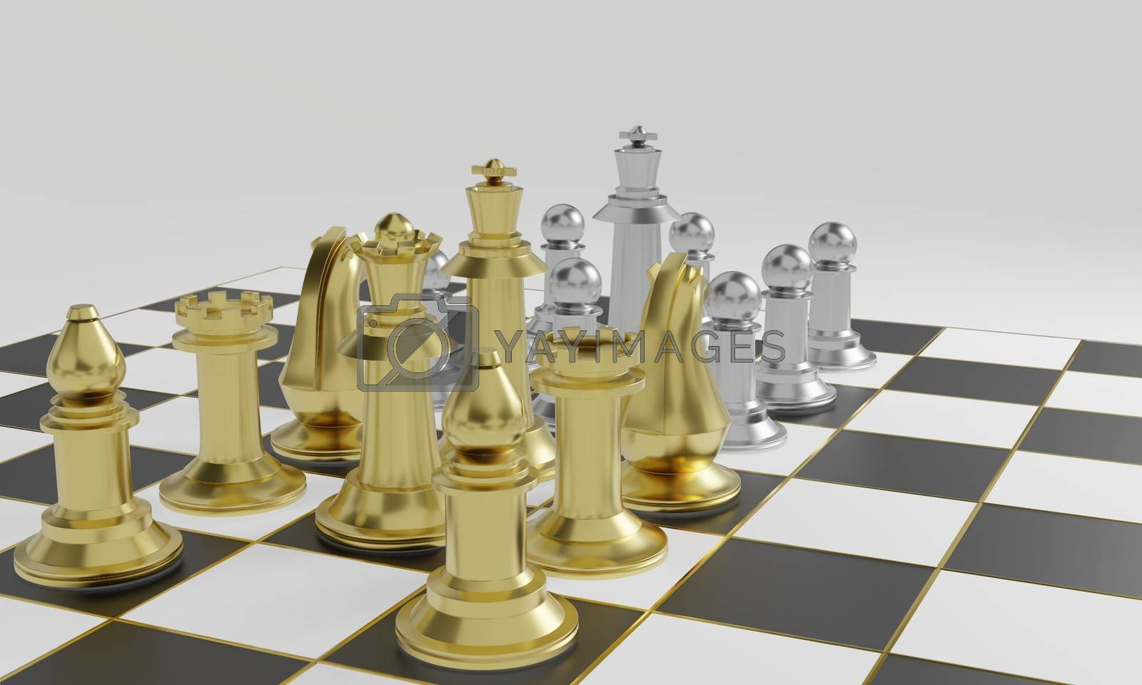 Royalty free image of Golden chess pieces more powerful than silver chess pieces by eaglesky