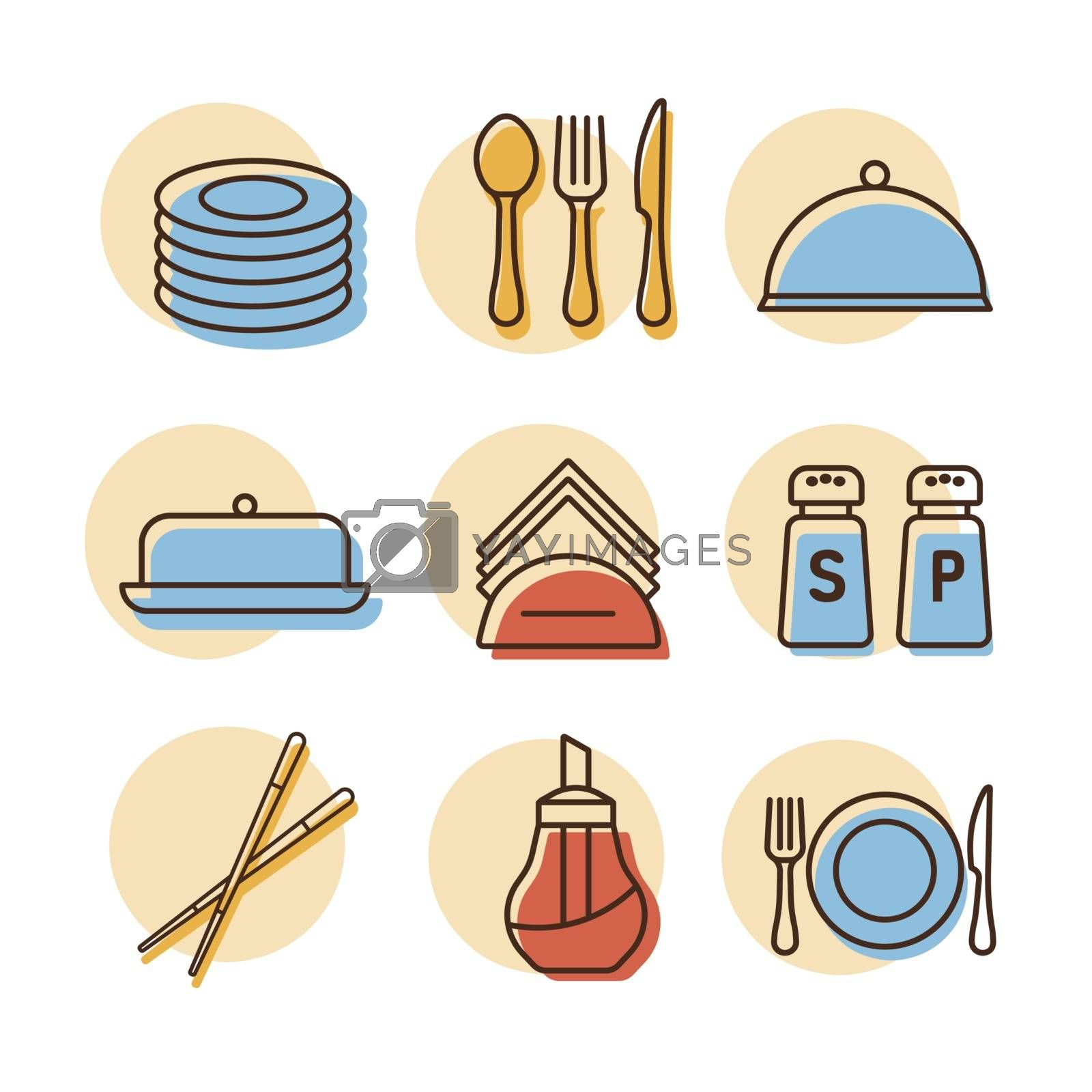 Restaurant vector icon set. Serving food sign. Graph symbol for cooking web site and apps design, logo, app, UI