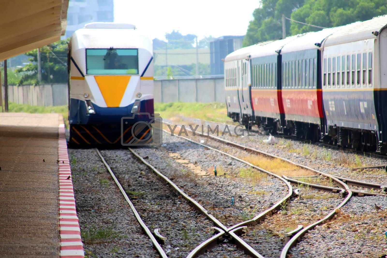 Arrival of a diesel passenger train at Phnom Penh station, Cambodia 3