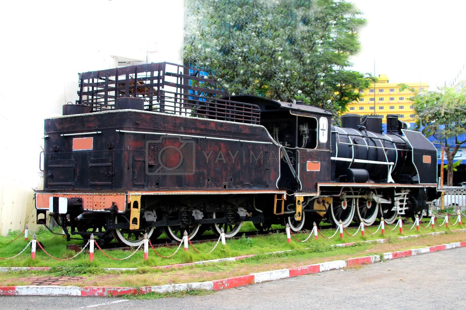 Vintage black steam train at Phnom Penh station, Cambodia 1
