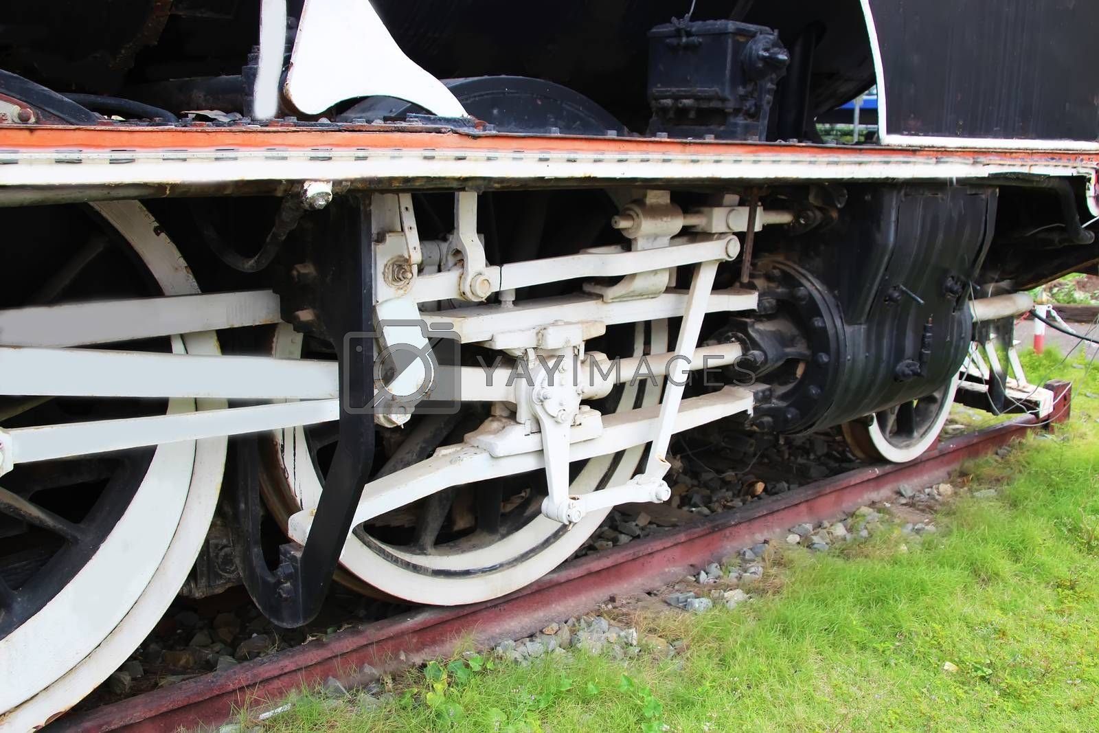 Steam engine and crank mechanism of an old steam locomotive, Cambodia 3