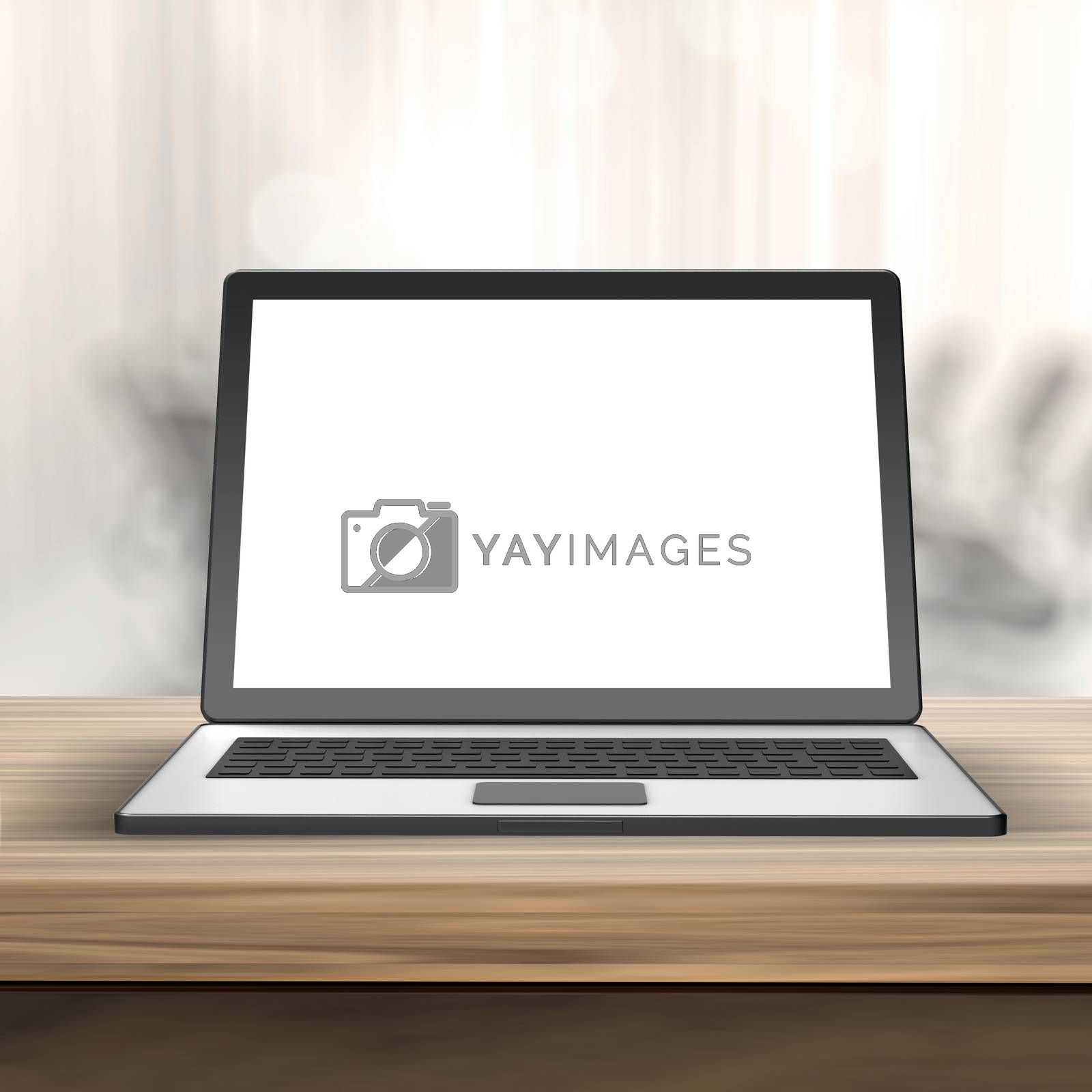 Royalty free image of Laptop with blank screen on wood table  and blurred  background  by everythingpossible