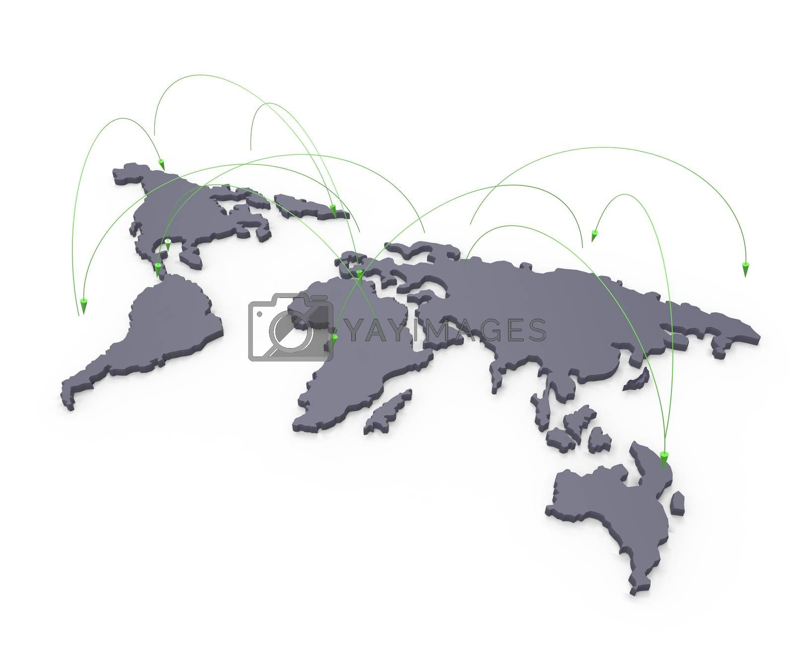 Royalty free image of social network human 3d on world map as concept by everythingpossible