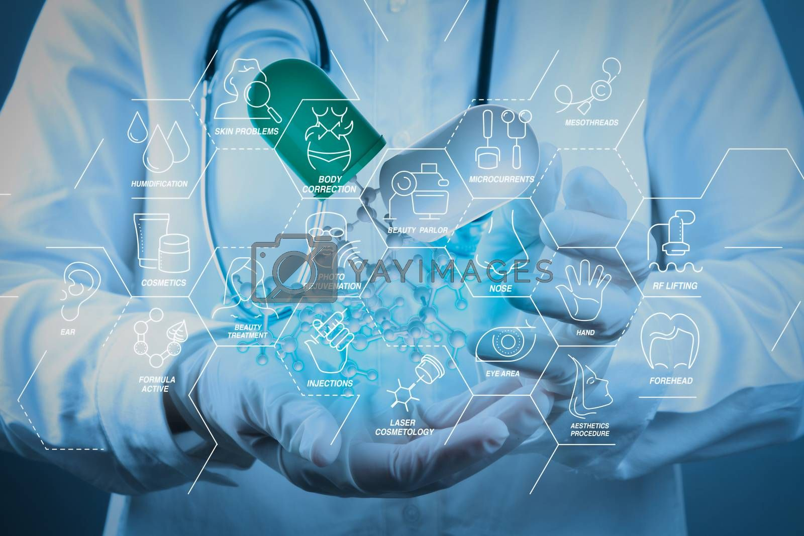 Royalty free image of scientist doctor hand holds virtual molecular structure by everythingpossible