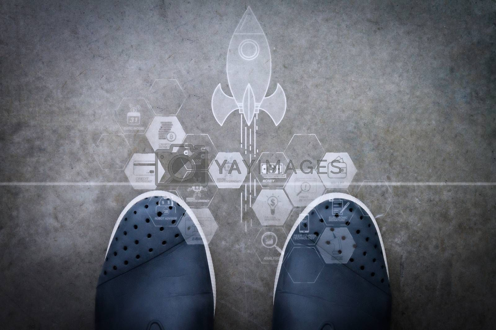 Royalty free image of Hand drawn DESIGN design word on front of business man feet as c by everythingpossible