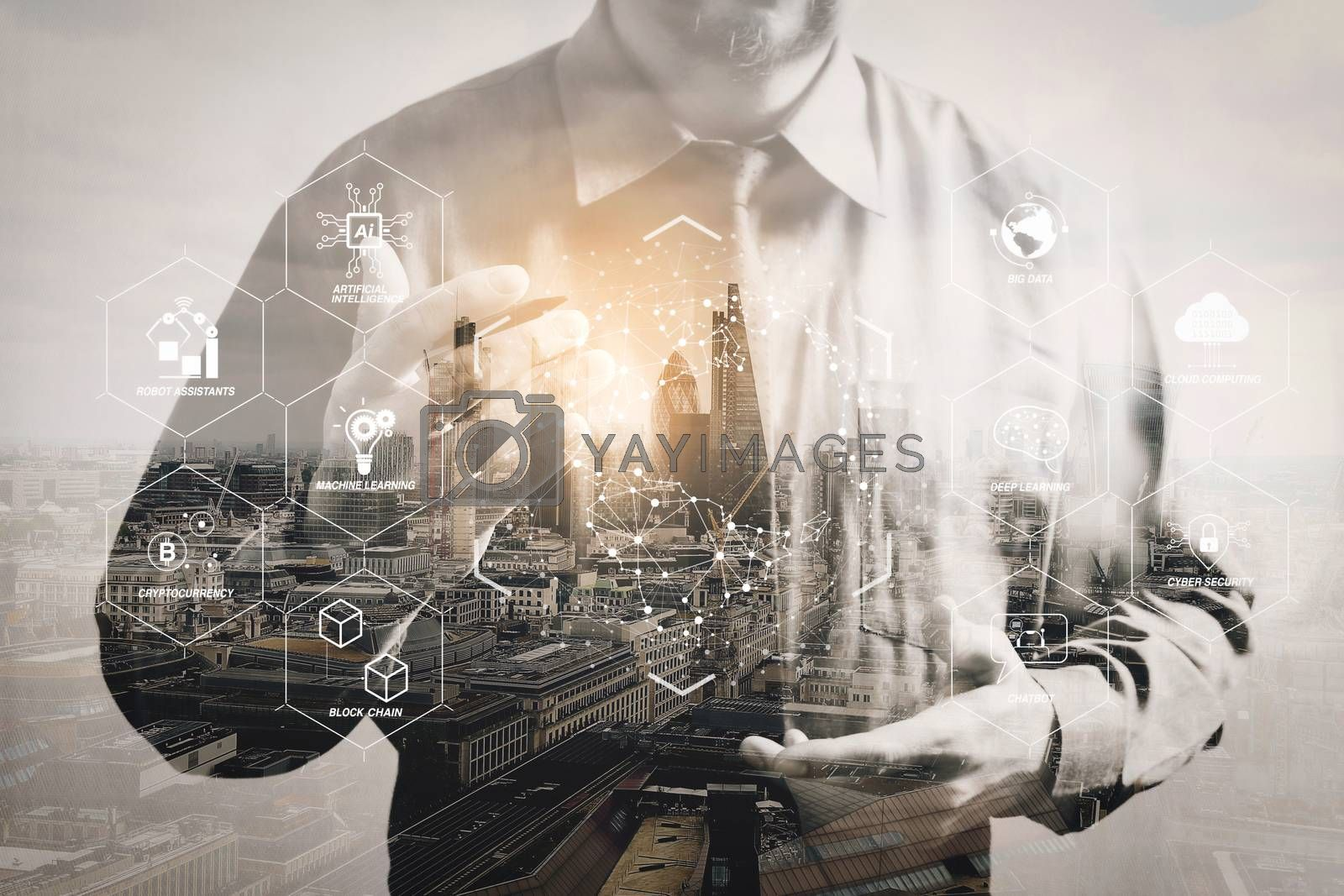 Royalty free image of Double exposure of success businessman using digital tablet with by everythingpossible