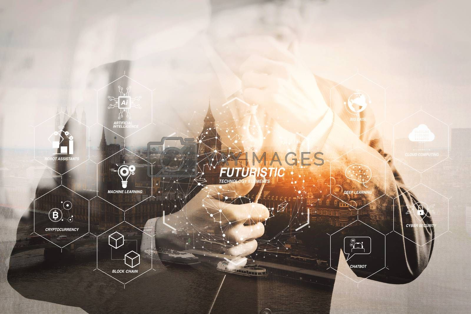 Royalty free image of Double exposure of success businessman holding digital tablet co by everythingpossible
