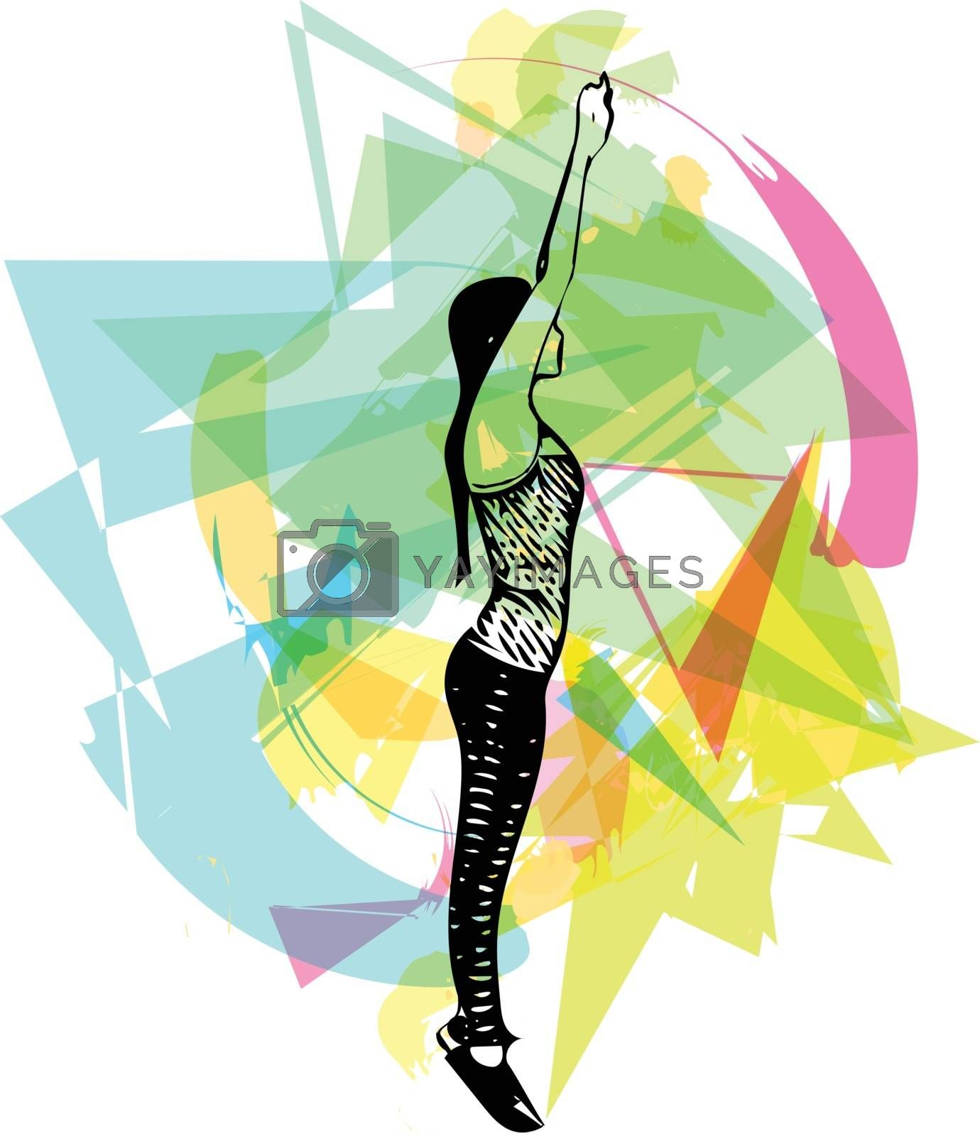 abstract fitness woman, trained female body Vector illustration