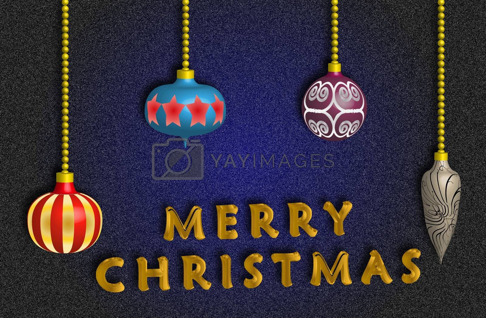 Merry Christmas card with colorful balls