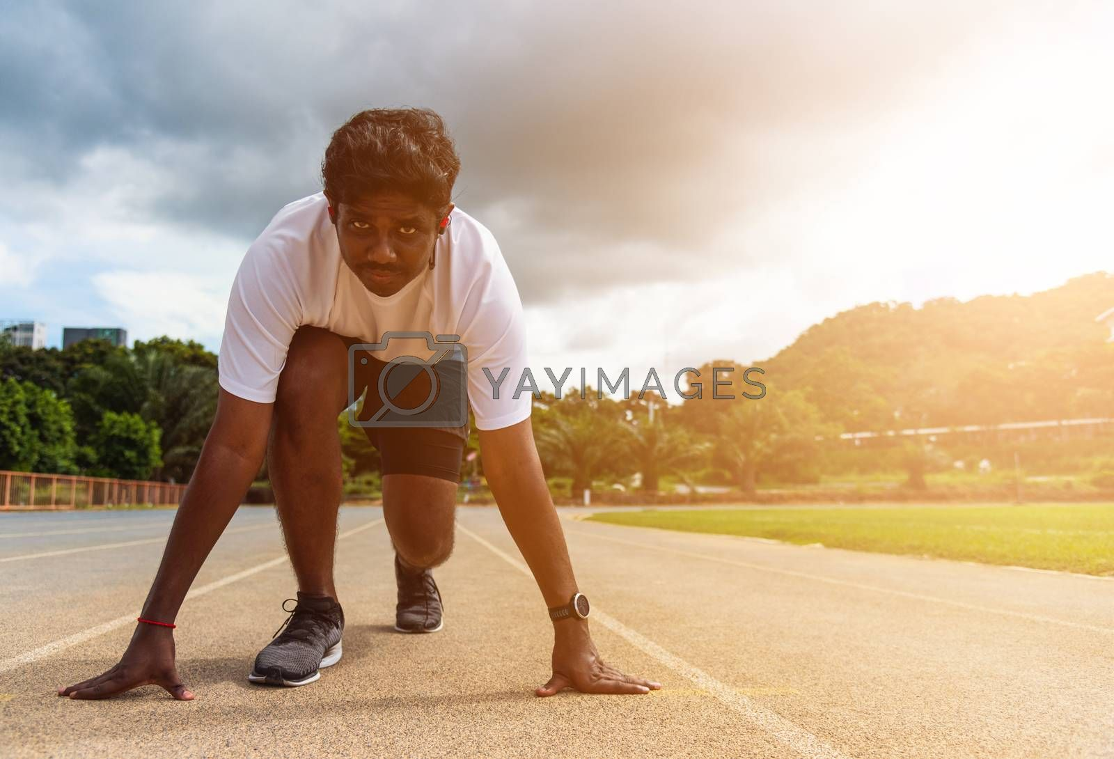 Asian young athlete sport runner black man wear feet shoe active ready to start running training at the outdoor on the treadmill for a step forward, healthy exercise workout, closeup face front