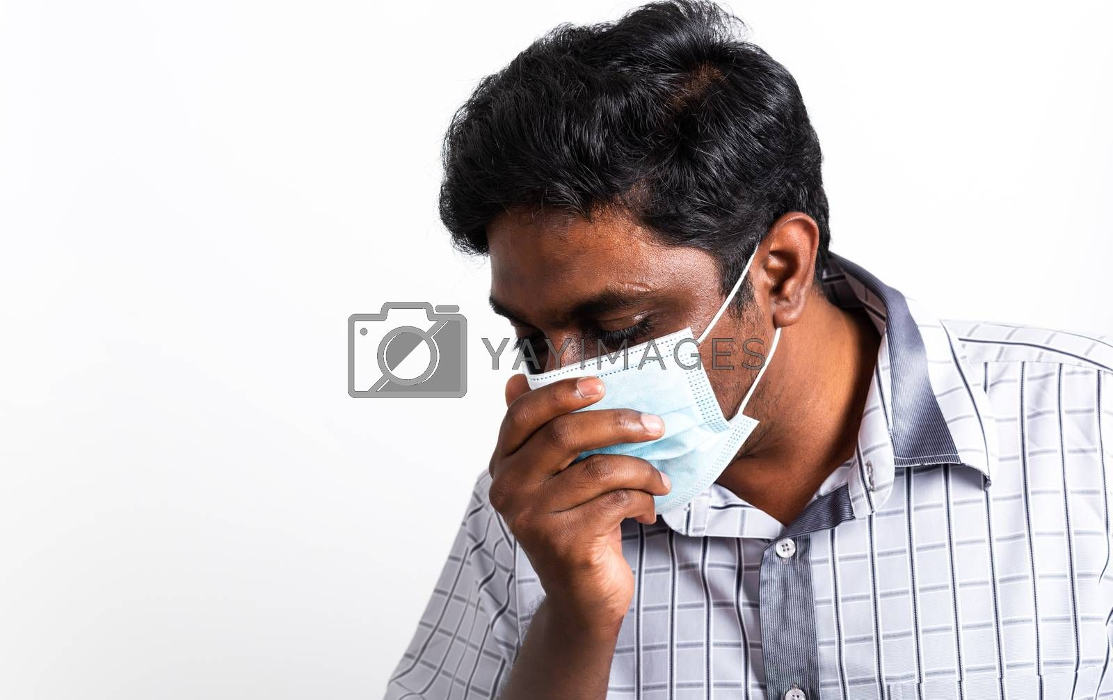 Asian handsome black man wearing surgical hygienic protective cloth face mask against coronavirus he sneeze hand close mouth, studio shot isolated white background, COVID-19 medical concept