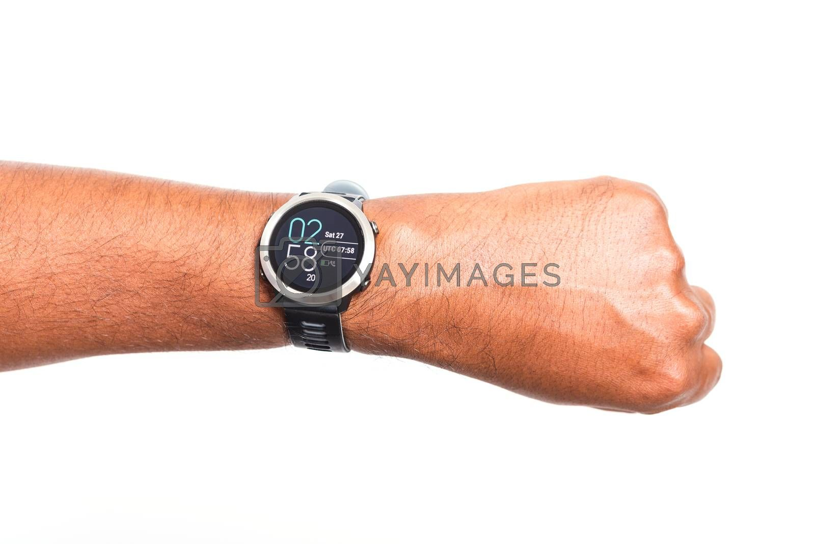 Closeup hand young black man wear modern digital smart watch on the wrist, studio shot isolated on white background