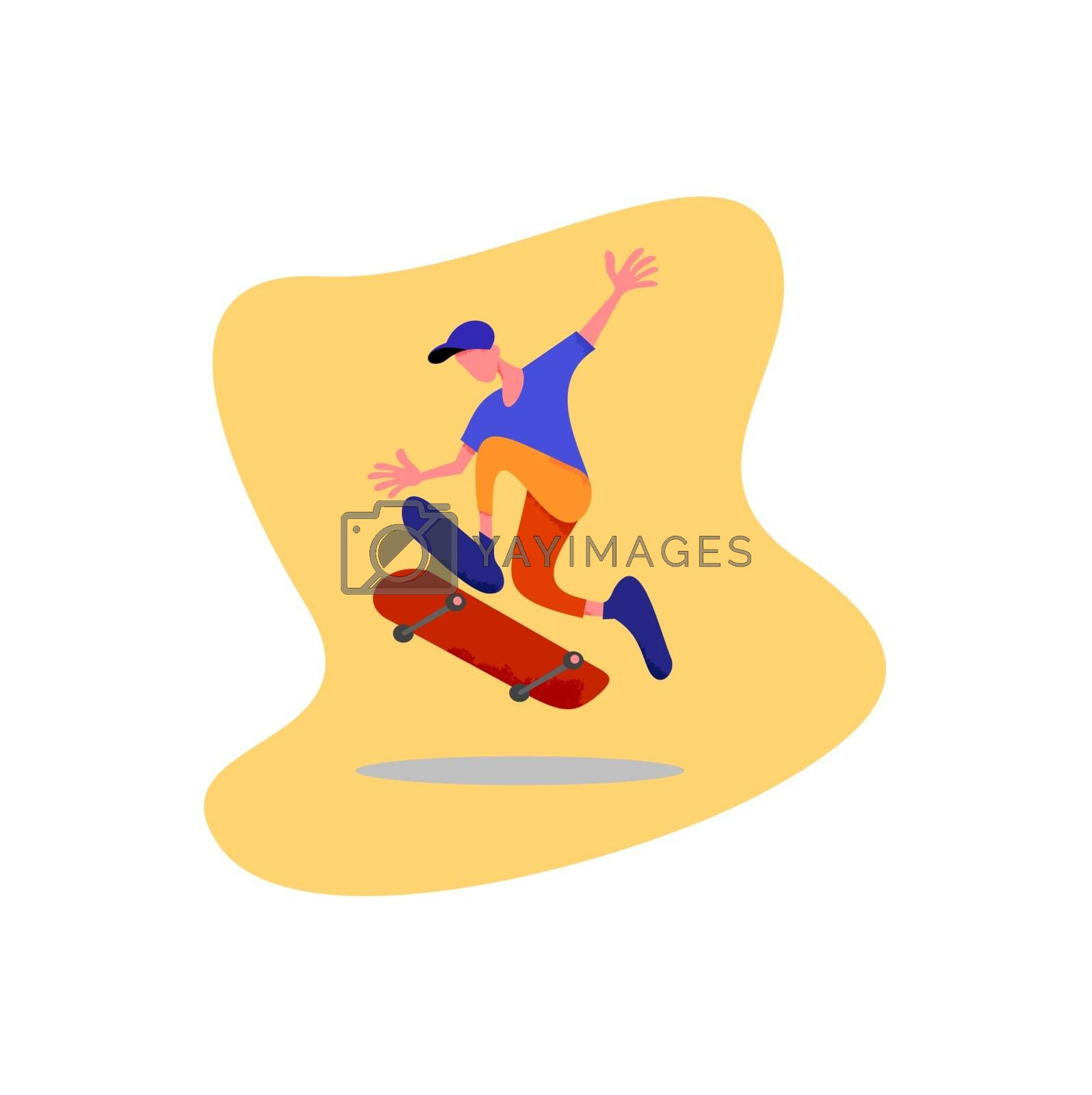 characters skateboarding style skaters jump with board on springboard