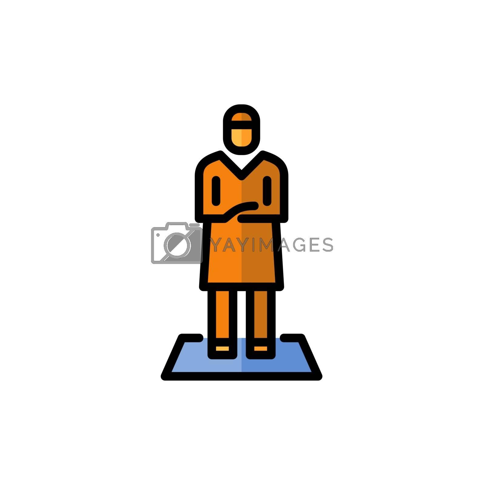 muslim man prayer fill outline icon