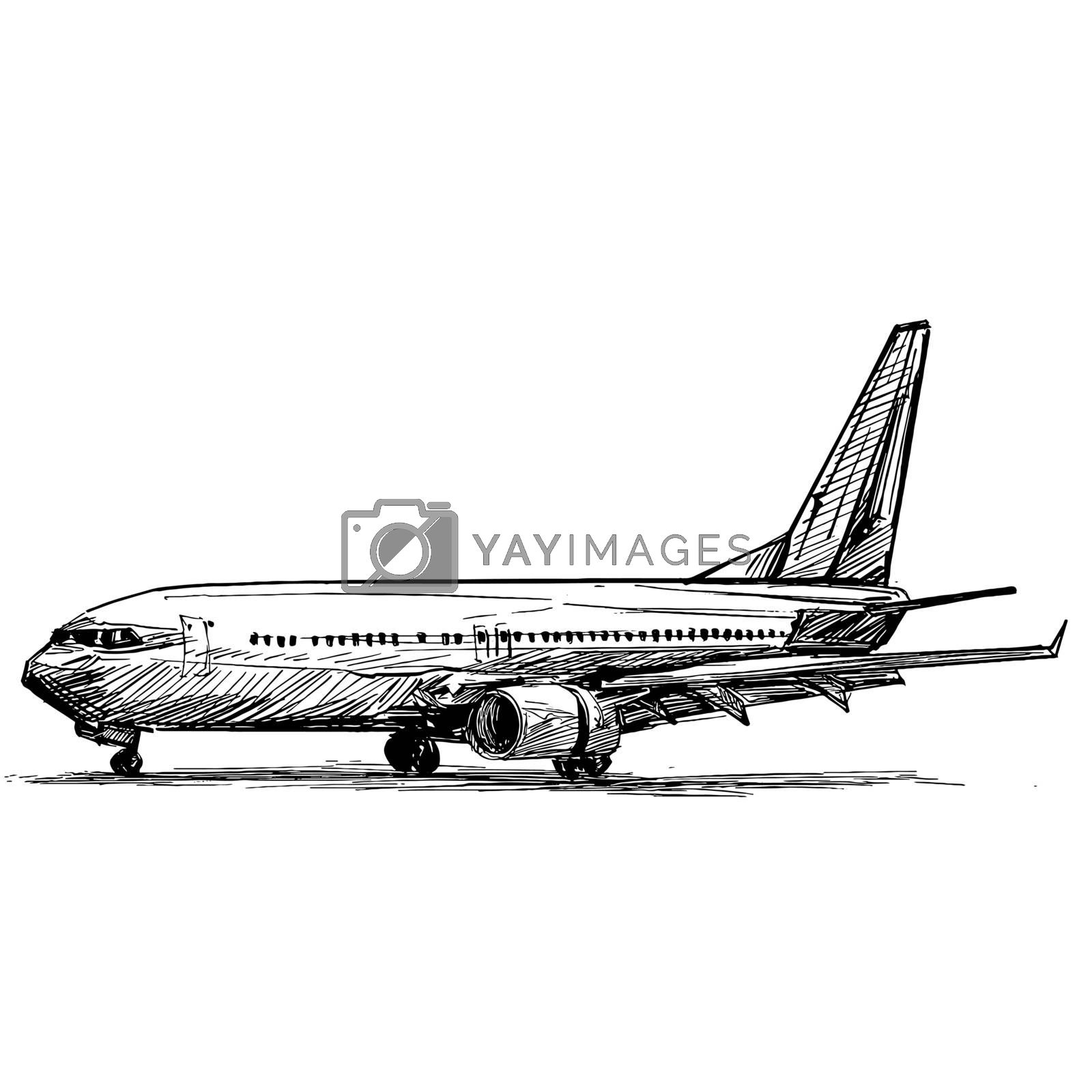 Drawing of the airplane landing at the airport
