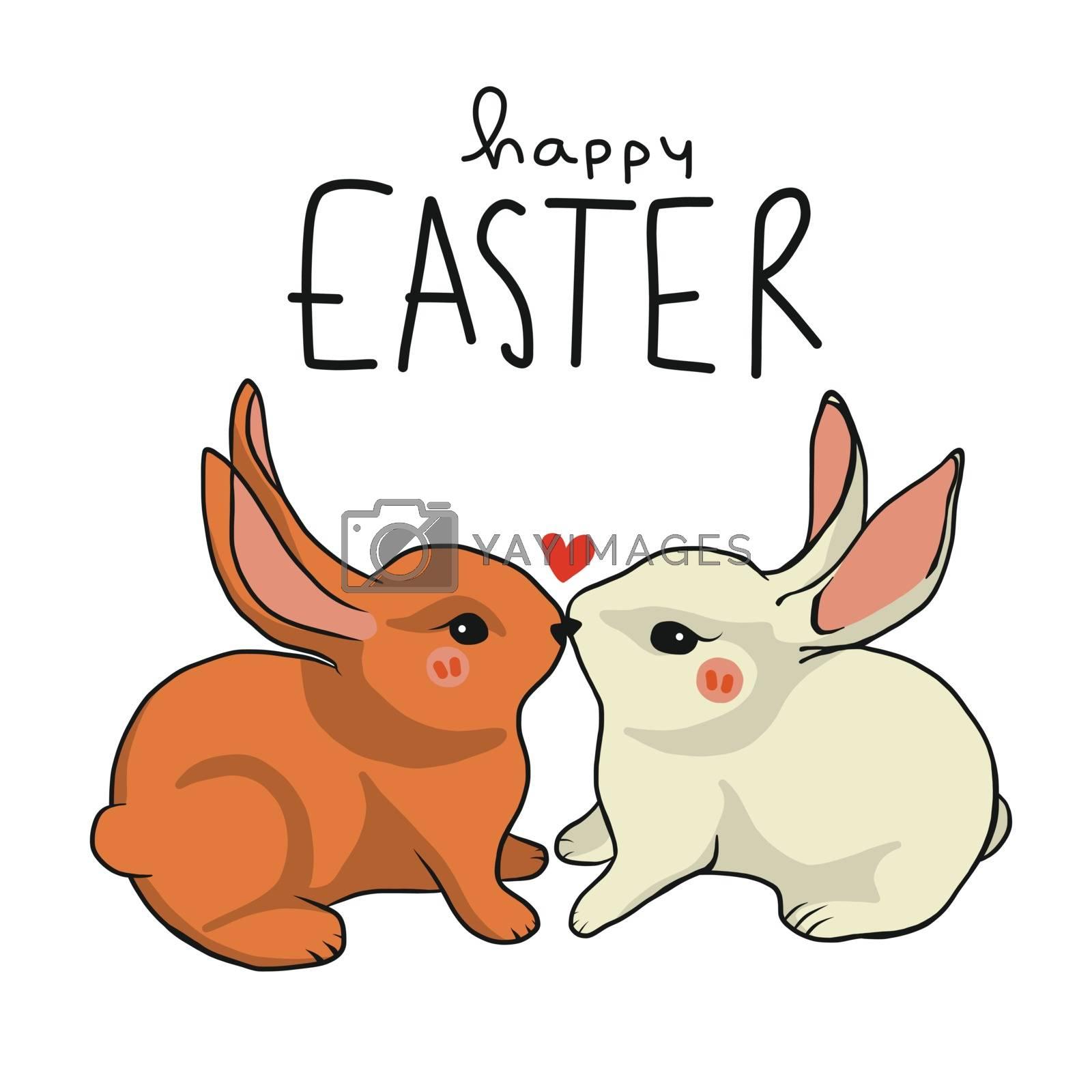 Happy Easter rabbit lover kissing cartoon vector illustration