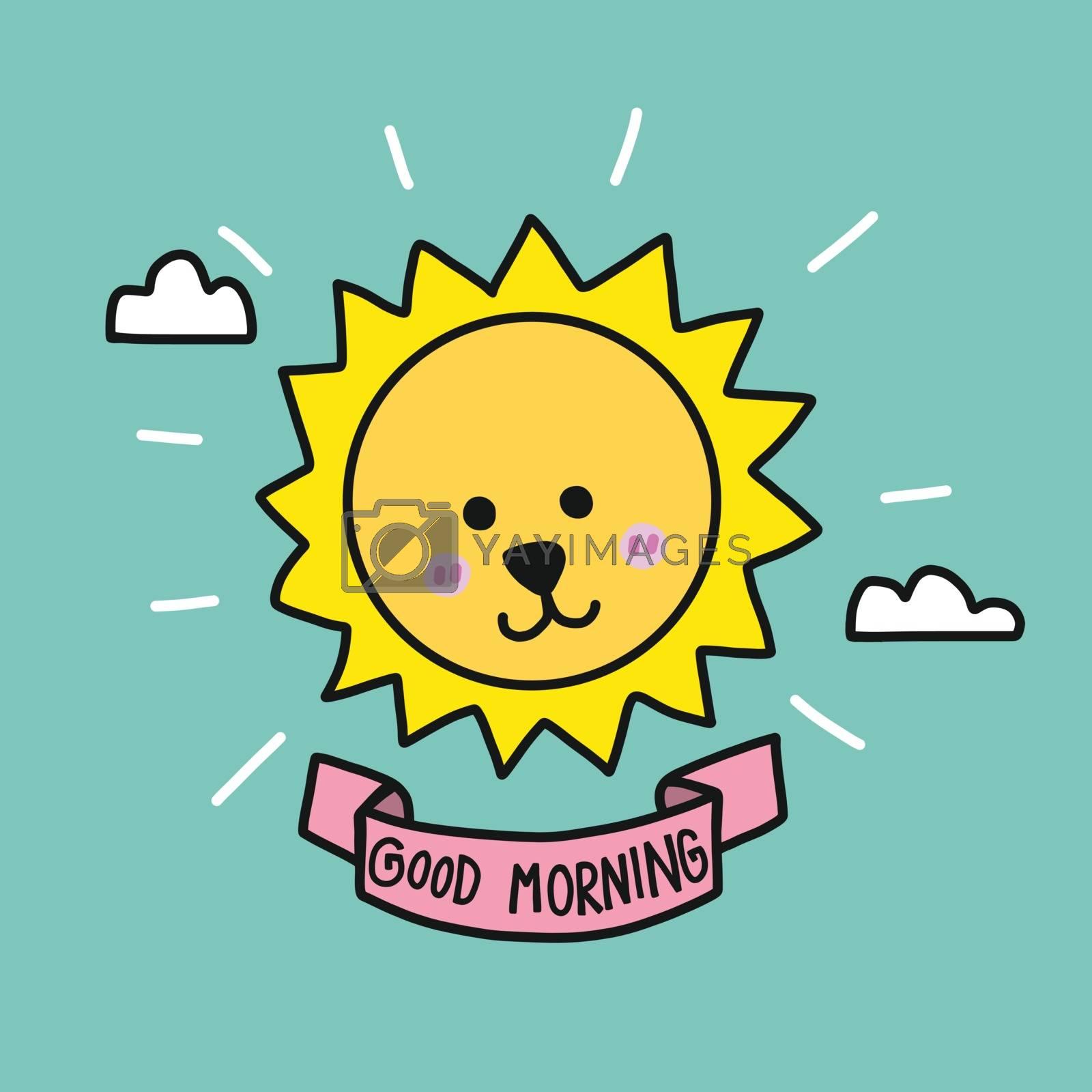 Good morning cute sun raise cartoon vector illustration doodle style