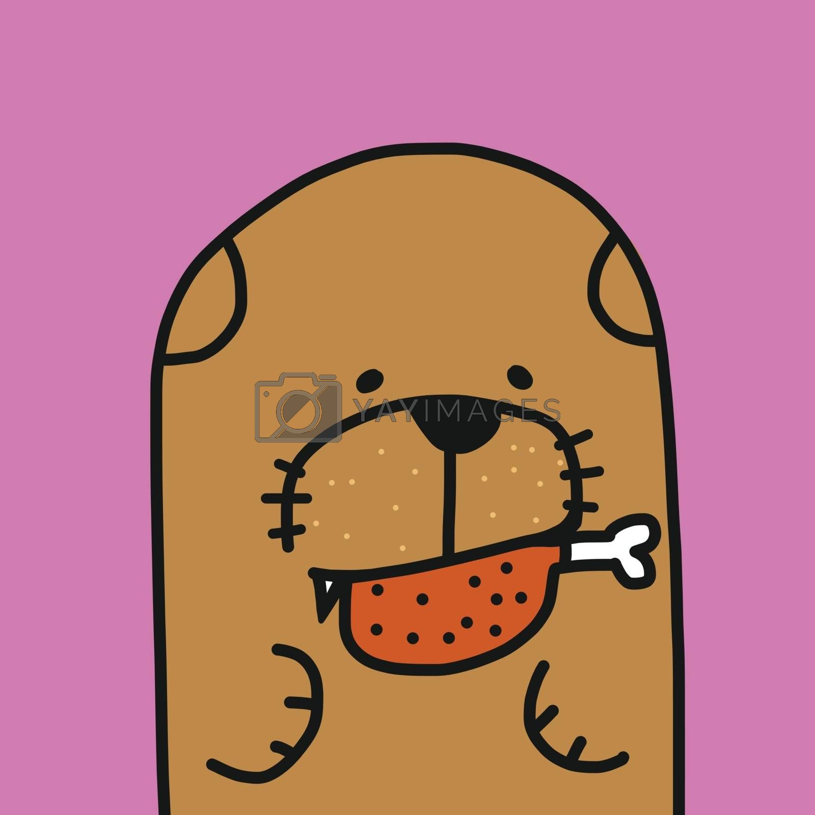 Dog with chicken in mouth cartoon vector illustration