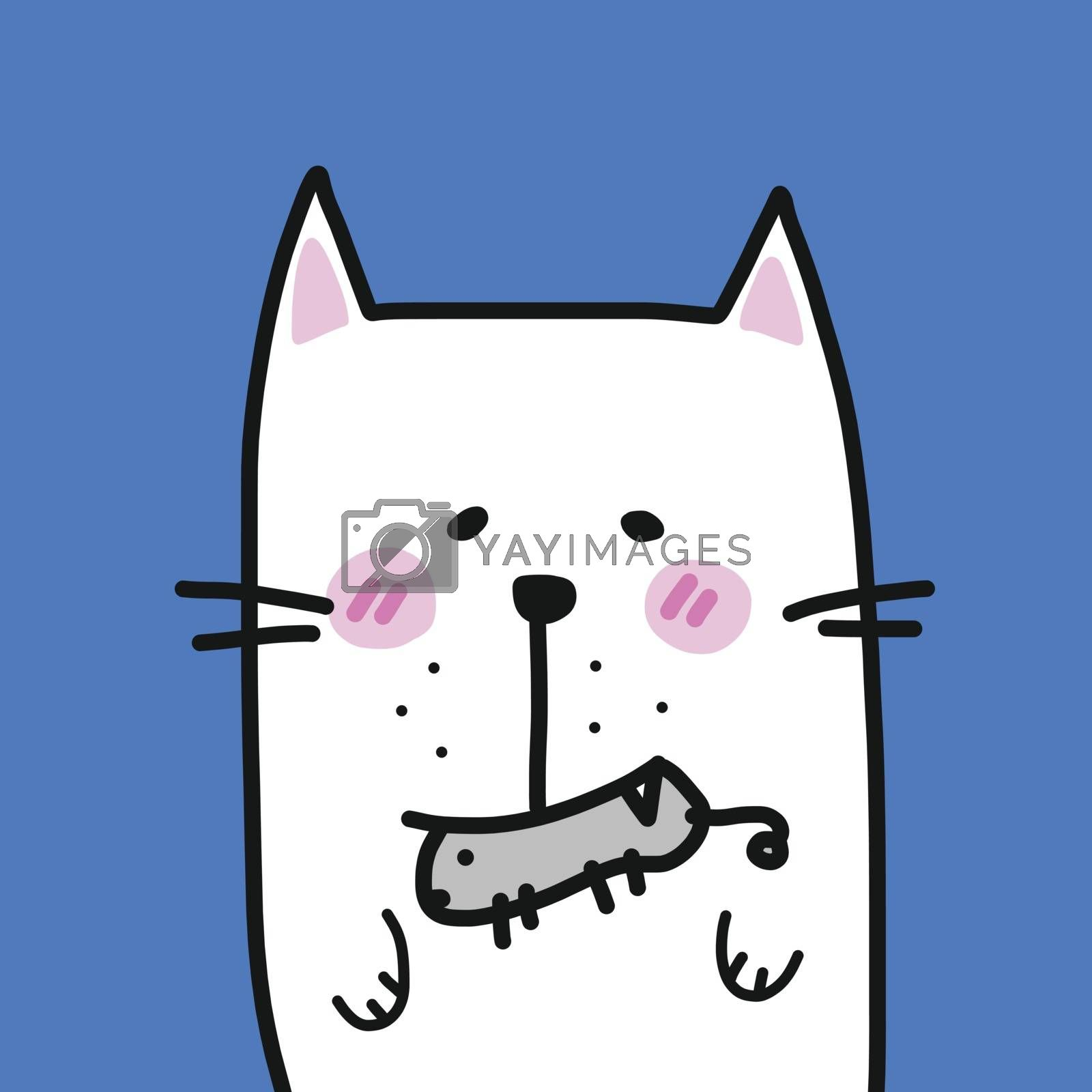 Cat with mouse in mouth cartoon vector illustration
