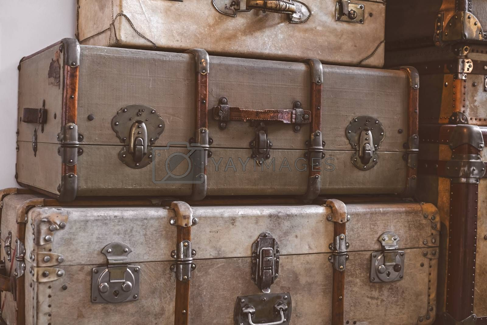 old classic travel suitcases