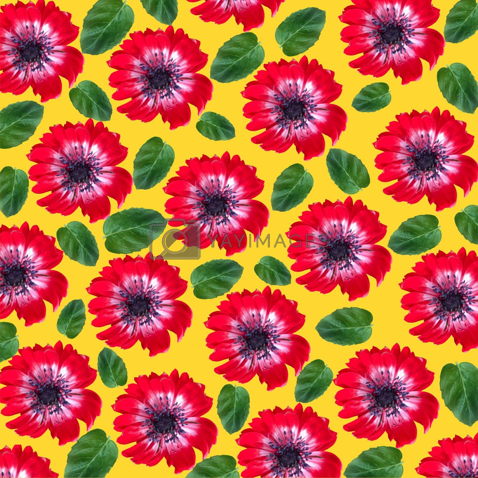 Floral pattern with red flowers and mint leaves by Margolana