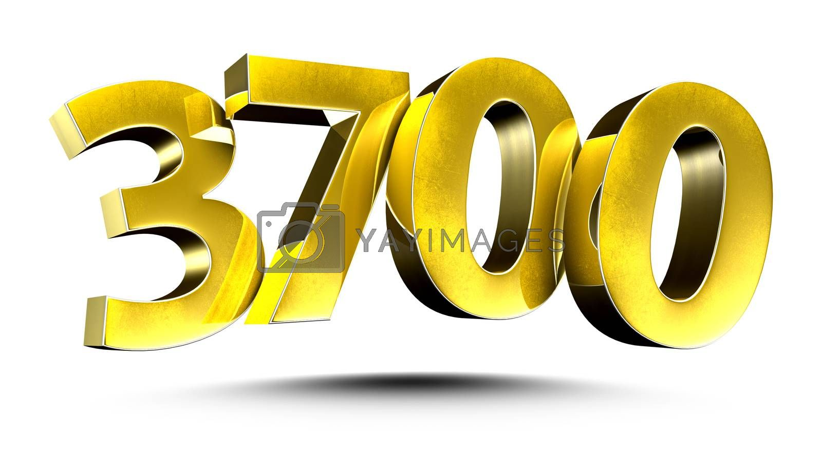 3D illustration Numbers 3700 Gold isolated on a white background.(with Clipping Path)