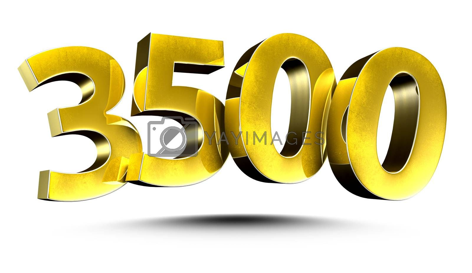 3D illustration Numbers 3500 Gold isolated on a white background.(with Clipping Path)
