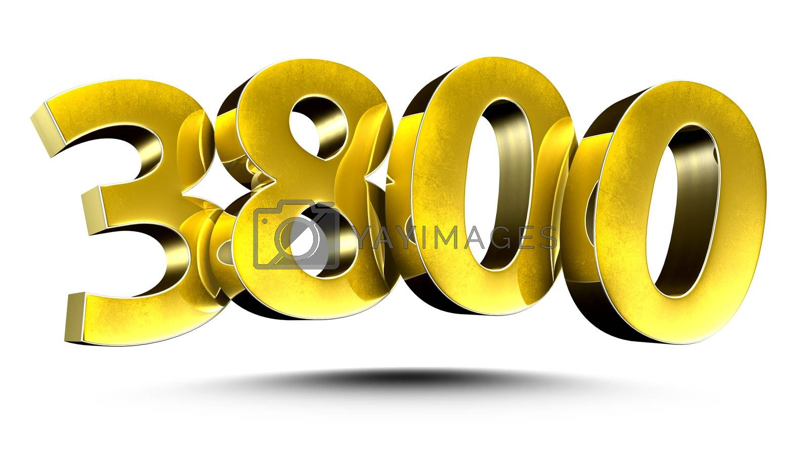3D illustration Numbers 3800 Gold isolated on a white background.(with Clipping Path)