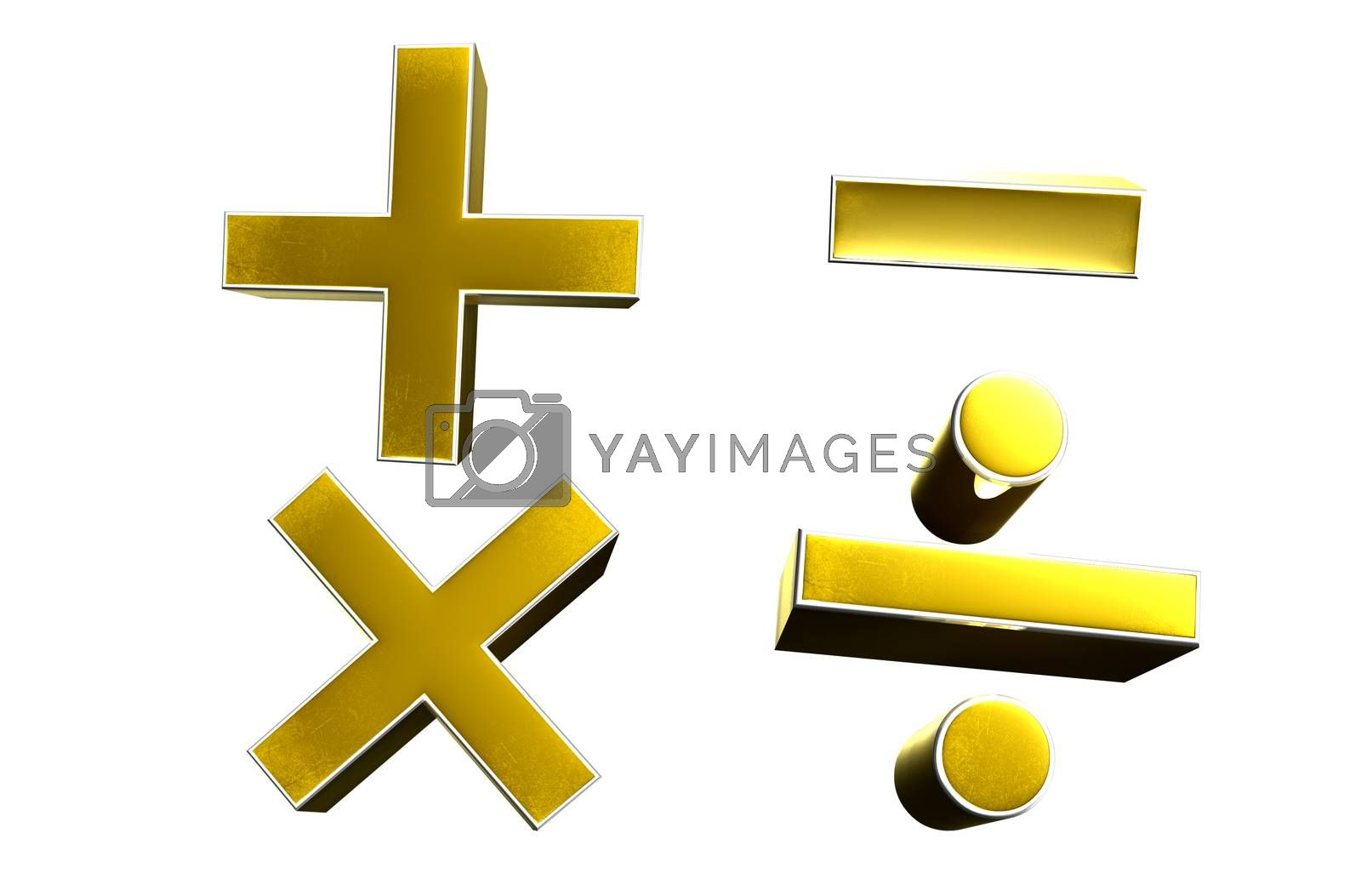 3D illustration symbol Add, subtract, multiply, divide Gold isolated on a white background.(with Clipping Path)