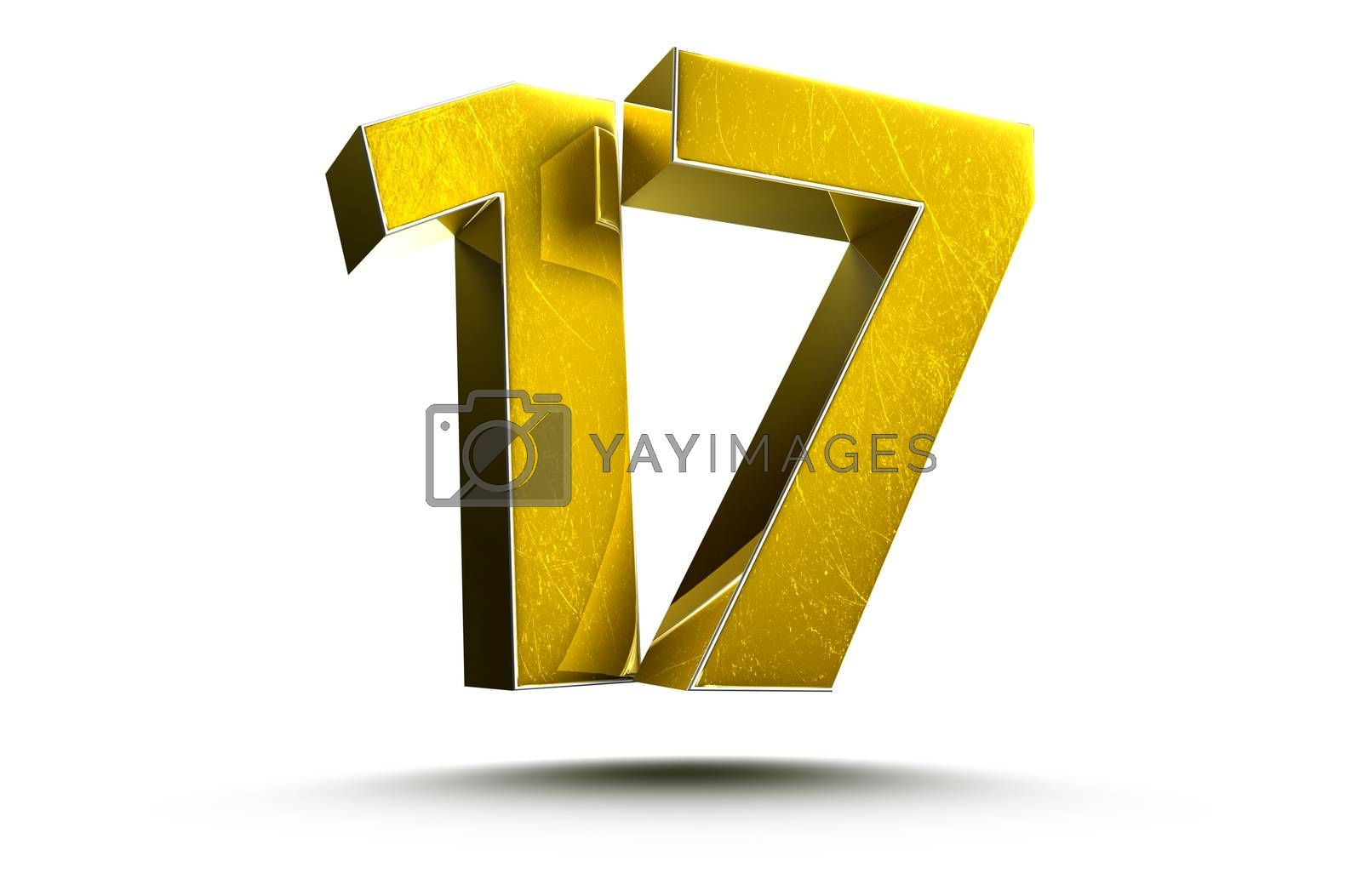 3D illustration Golden number 17 isolated on a white background.(with Clipping Path).