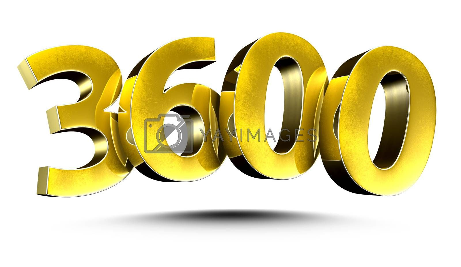 3D illustration Numbers 3600 Gold isolated on a white background.(with Clipping Path)