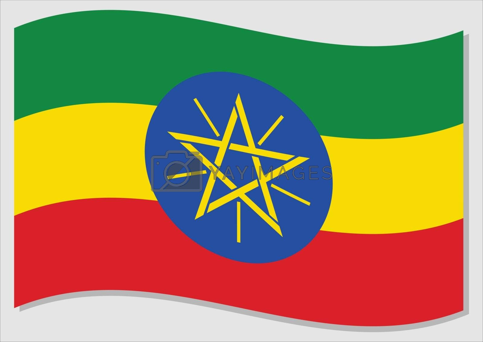 Waving flag of Ethiopia vector graphic. Waving Ethiopian flag illustration. Ethiopia country flag wavin in the wind is a symbol of freedom and independence.
