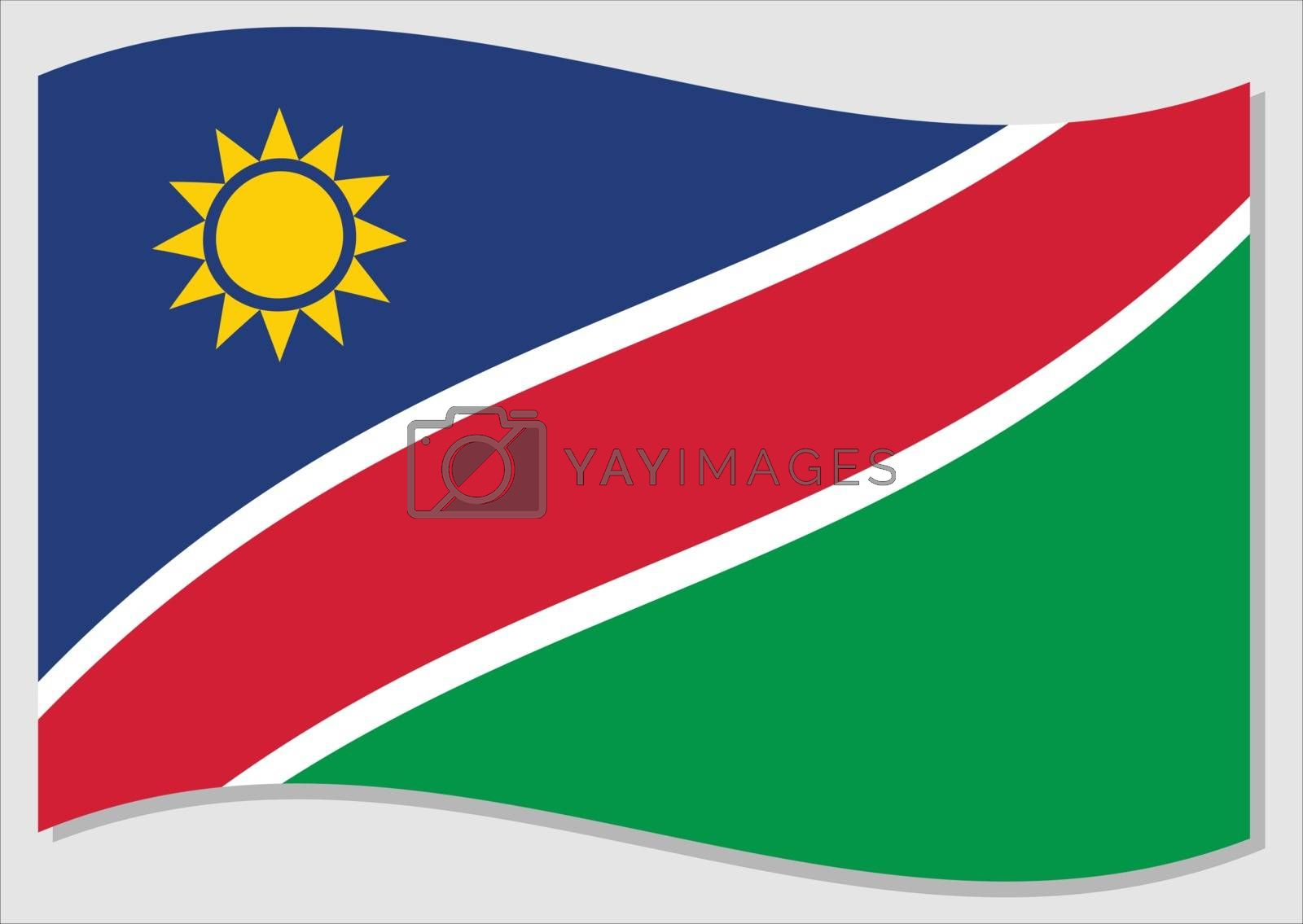 Waving flag of Namibia vector graphic. Waving Namibian flag illustration. Namibia country flag wavin in the wind is a symbol of freedom and independence.