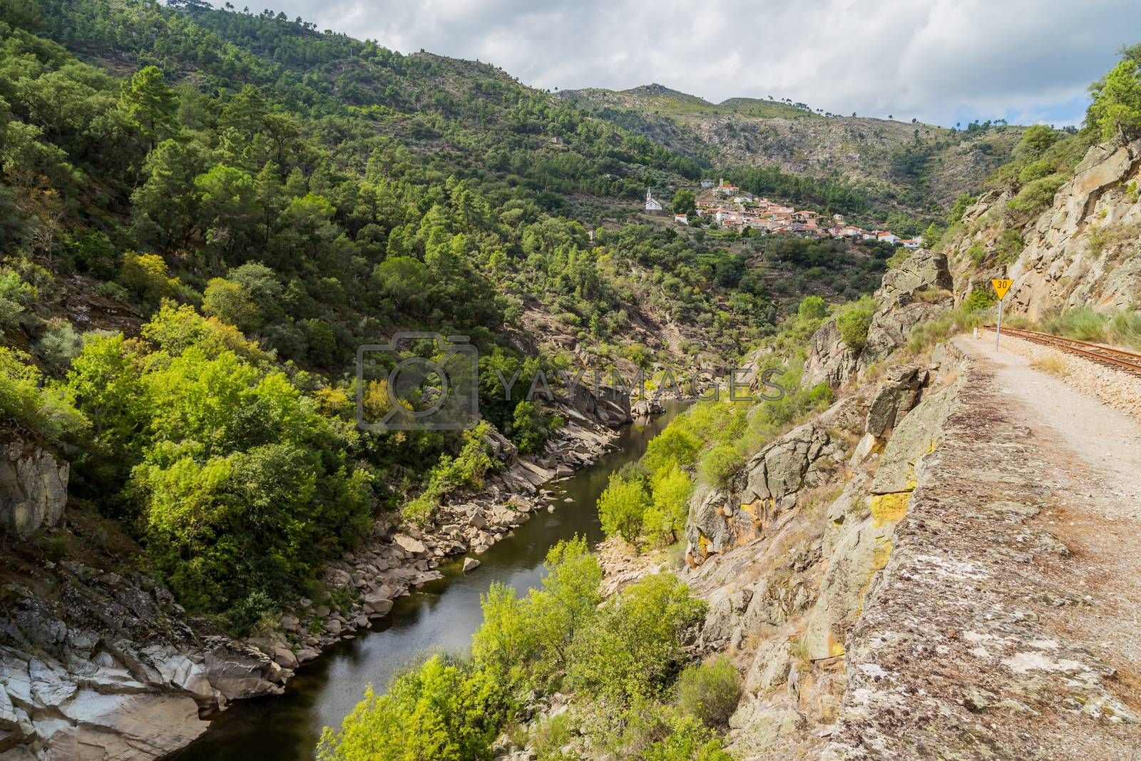 River Tua in the mountains of Douro, Portugal