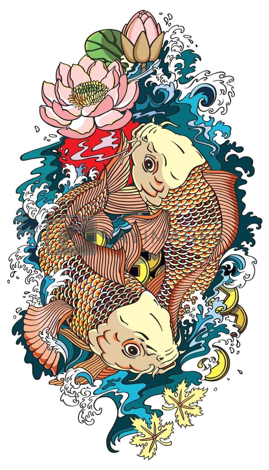 two koi gold carp fishes . Lotus flower with water splash and feng shui money coins . Illustration tattoo style drawing