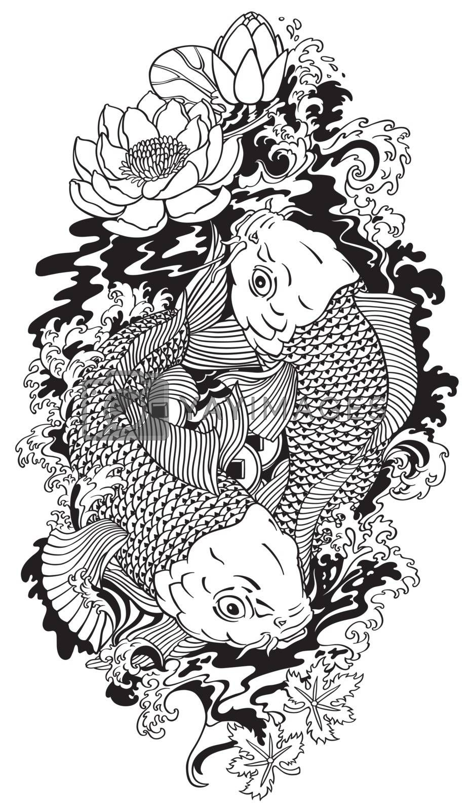 two koi gold carp fishes . Lotus flower with water splash and feng shui money coins .Black and white  tattoo style vector illustration