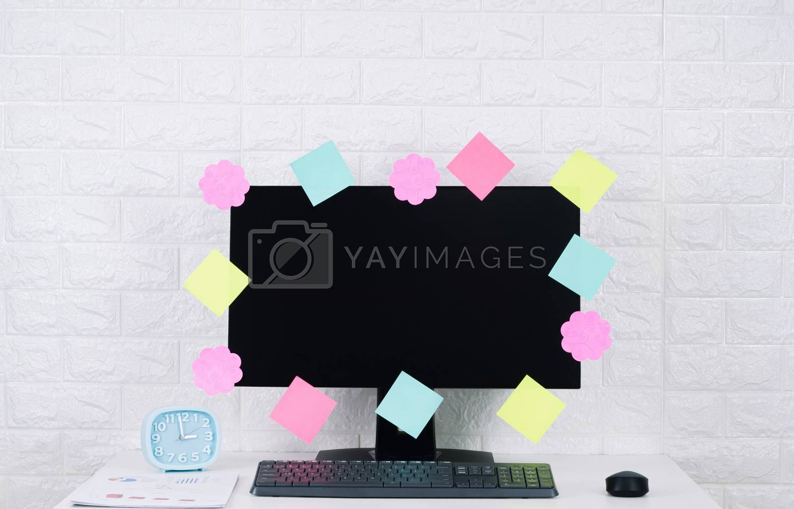 Paper post it Notes Computer screen on the desk