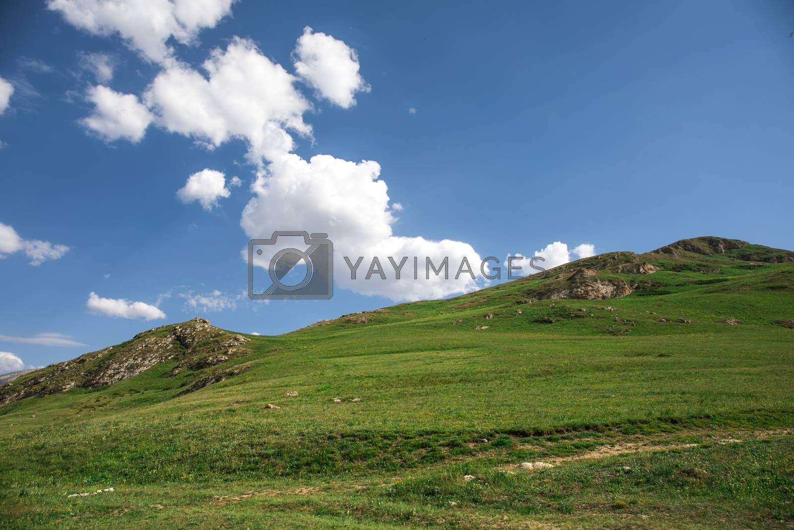 Beautiful landscape in the mountains at summer in daytime. Mountains at the sunset time. Azerbaijan, Caucasus. Khinalig
