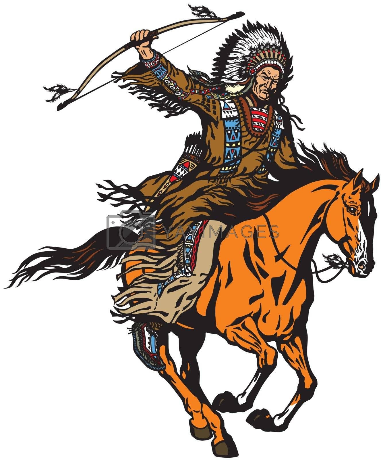 American native Indian chief wearing a feather war bonnet and riding a mustang pony horse in the gallop. Nomadic horseman archer warrior or hunter sitting on a horseback and holding a bow . Isolated vector illustration
