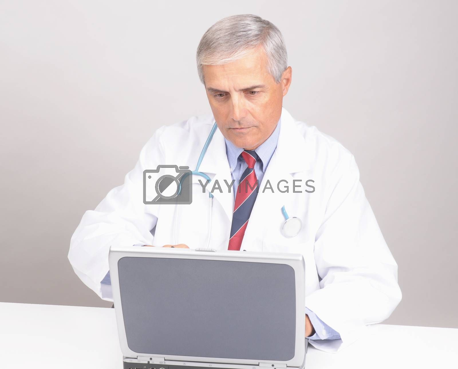 Middle Aged  Doctor seated at Desk with Laptop Computer - gray background