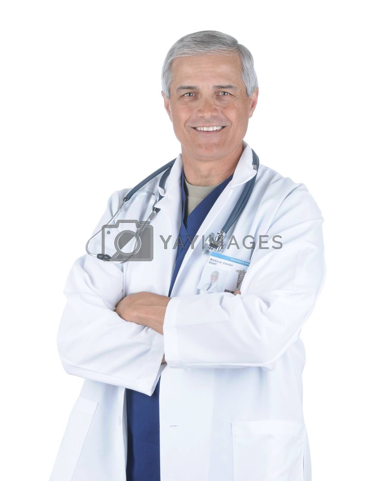 Middle Aged Male Doctor in Lab Coat and Scrubs with Arms Folded and Stethoscope around his neck isolated on white