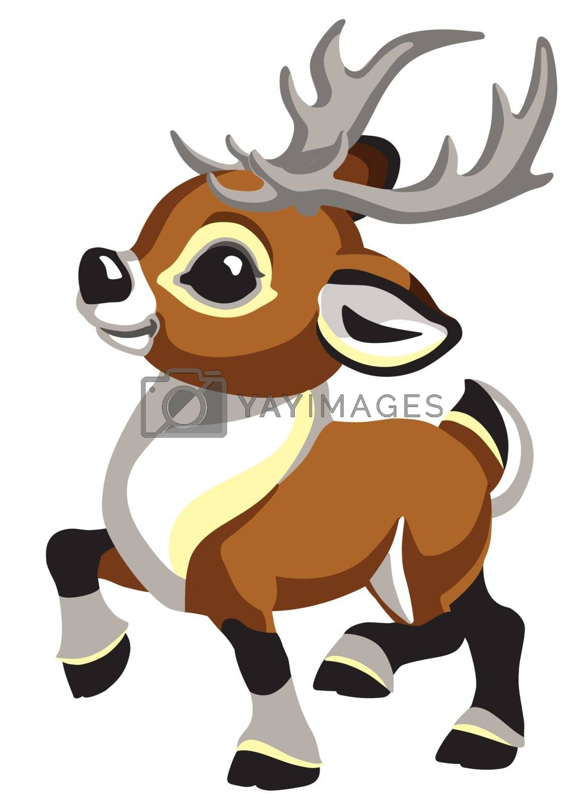cartoon Christmas caribou deer. Funny reindeer for babies and little kids . Isolated side view vector illustration