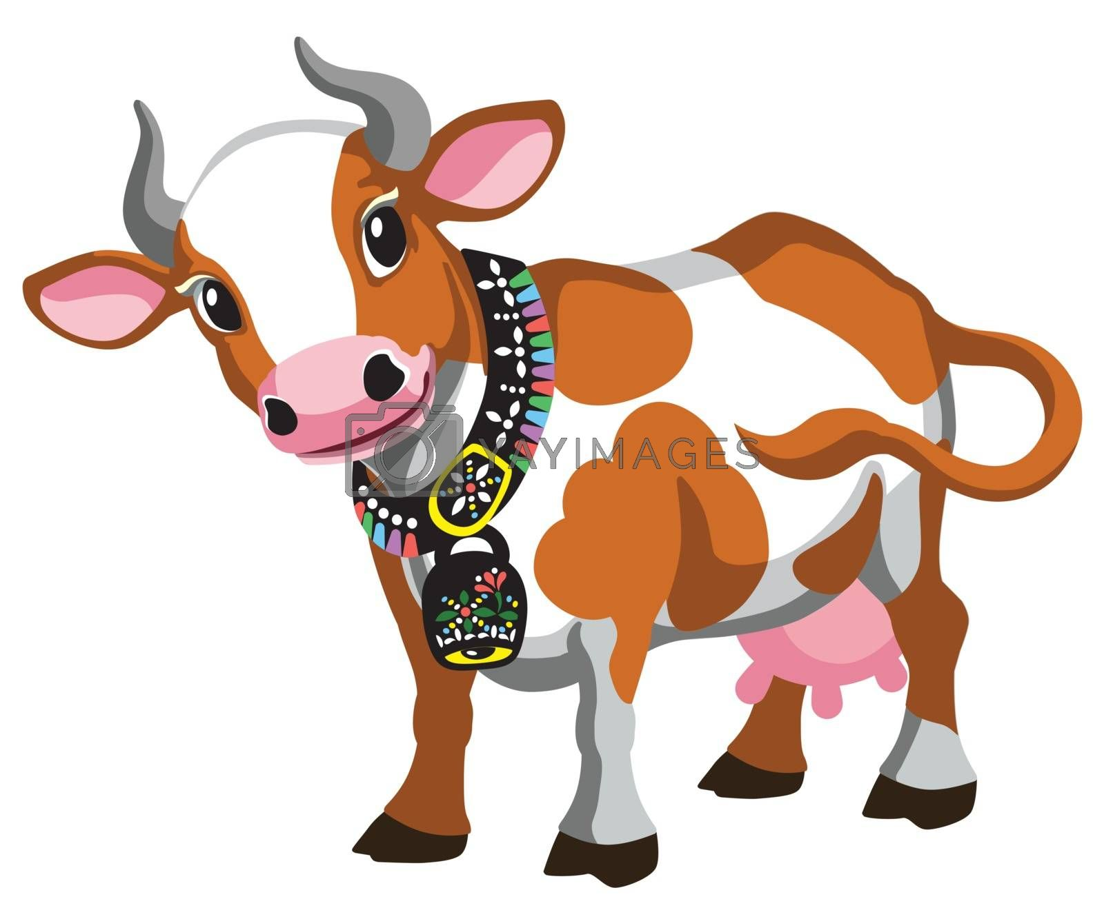 cartoon cow with bell on the neck . Brown spotted cattle. Vector illustration isolated on white