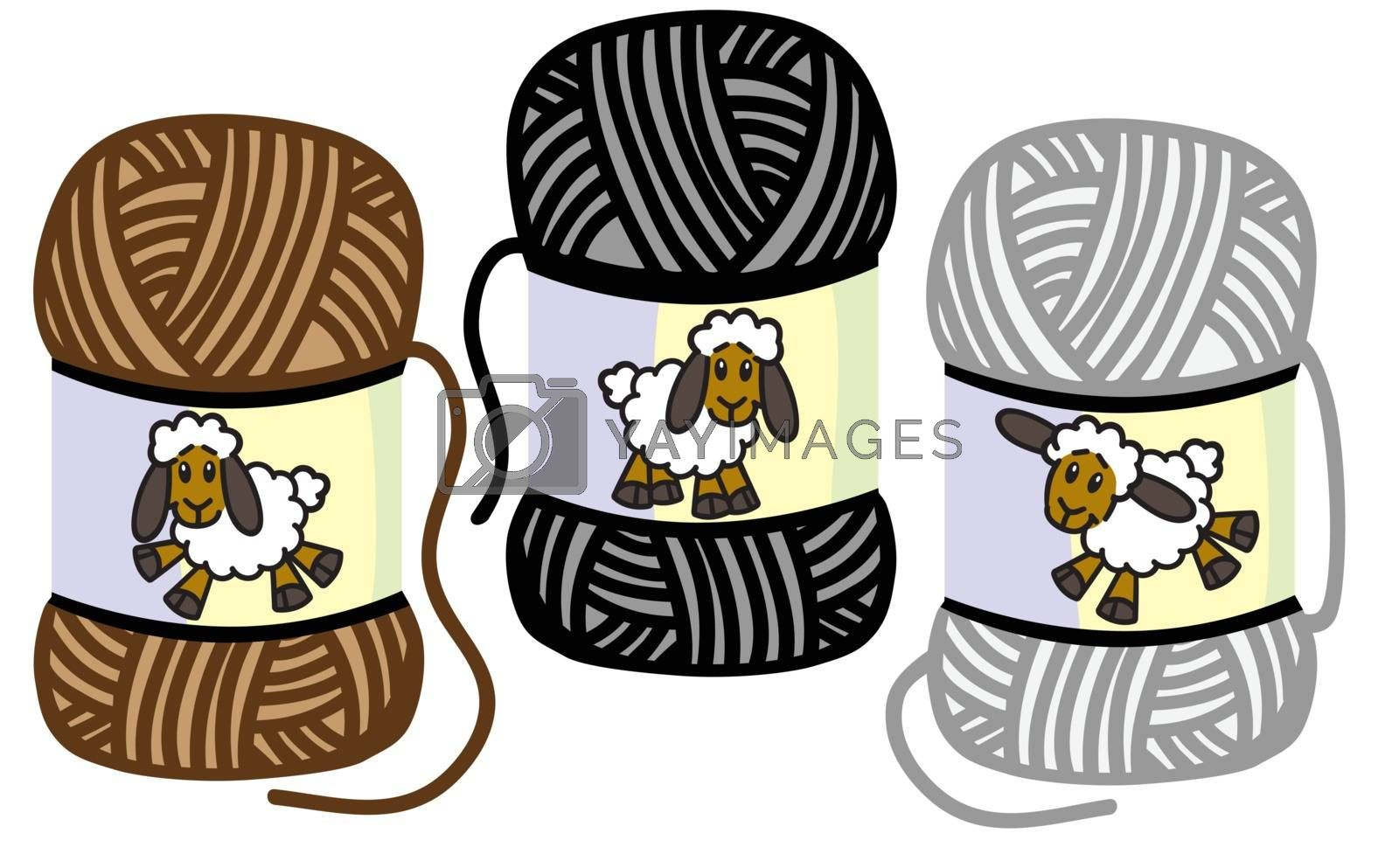 cartoon funny sheep on the woolly thread balls. Yarns of lamb wool . Isolated vector illustration