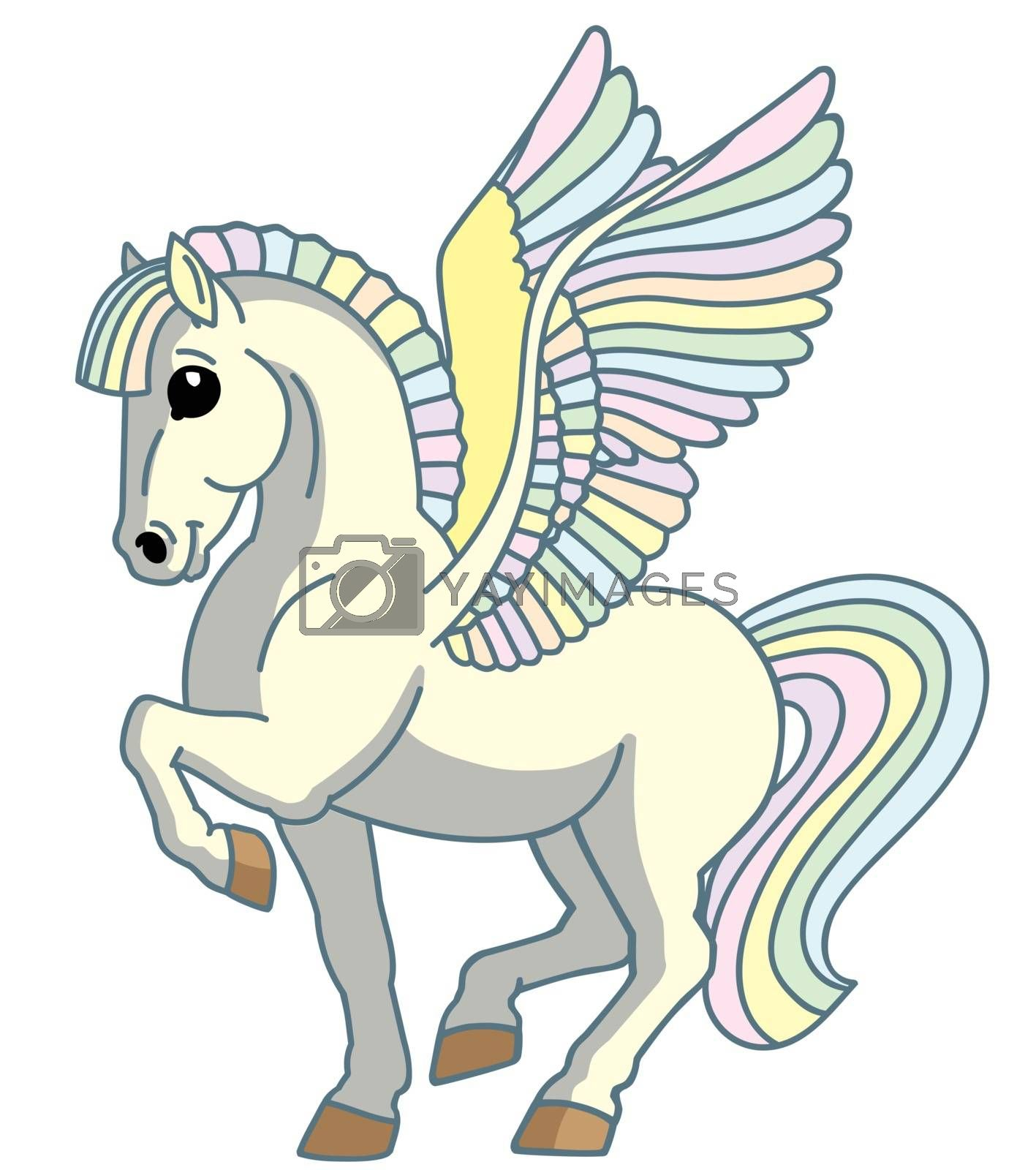 cartoon white pegasus. Magic winged pony horse . Isolated vector illustration for babies and little kids