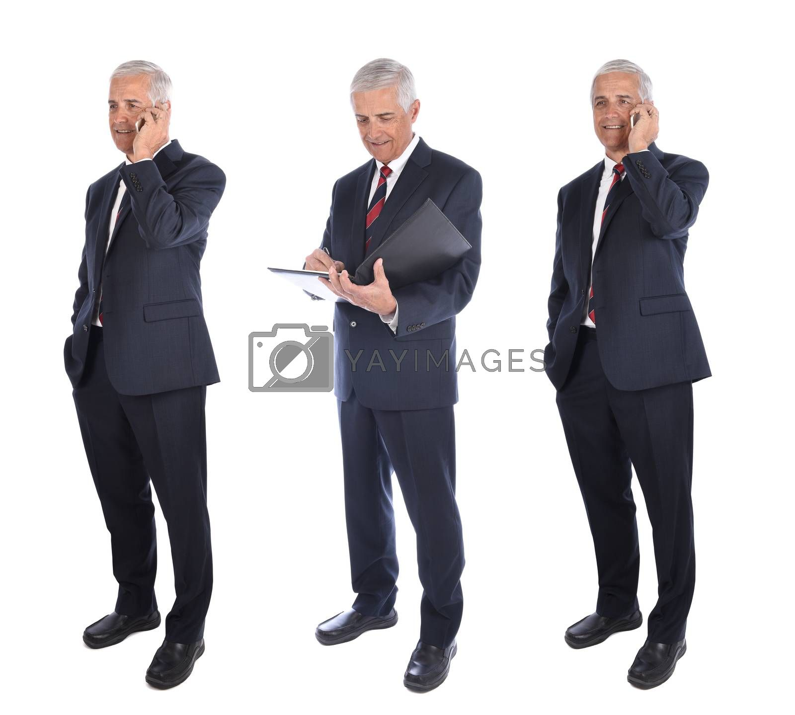 Three views of a mature businessman in full length in different poses, Talking on Cell Phone and writing in folder, isolated on white.